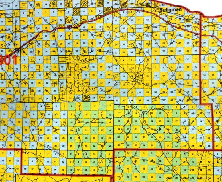 Map of Land near Seligman, AZ with Checkerboard